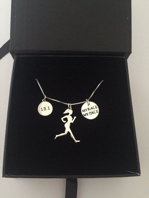 All Sterling Silver My Race My Pace 13.1 Runner Girl Trio