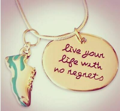 Live Life with No Regrets Running Necklace