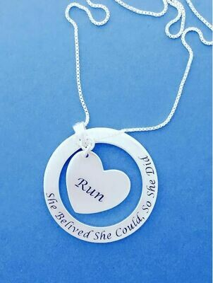 Sterling Silver RUN She Believed She Could Necklace