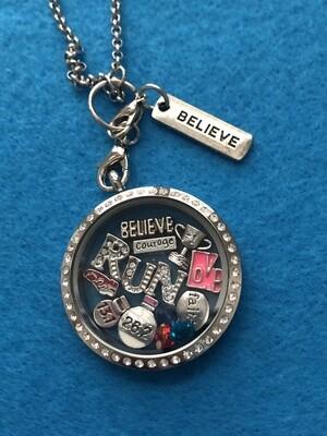 Believe Courage Run Locket Necklace