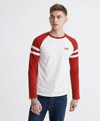 Camiseta Manga Larga  Softball Ringer Algodon Organico Rojo