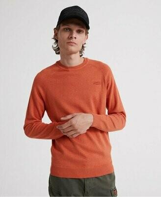 Orange Label Cotton Crew Jumper Bright Sienna Orange Marl