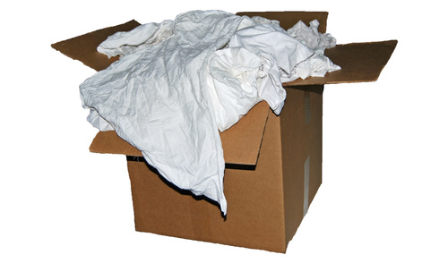 50 L. Box of White Cotton Reclaimed T-Shirt Rags- Lint Free
