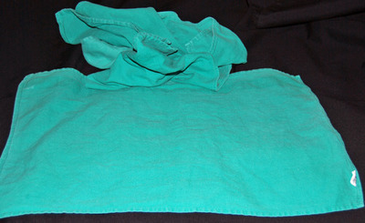 25 Lb. Box of Reclaimed Green Huck Surgical Towels