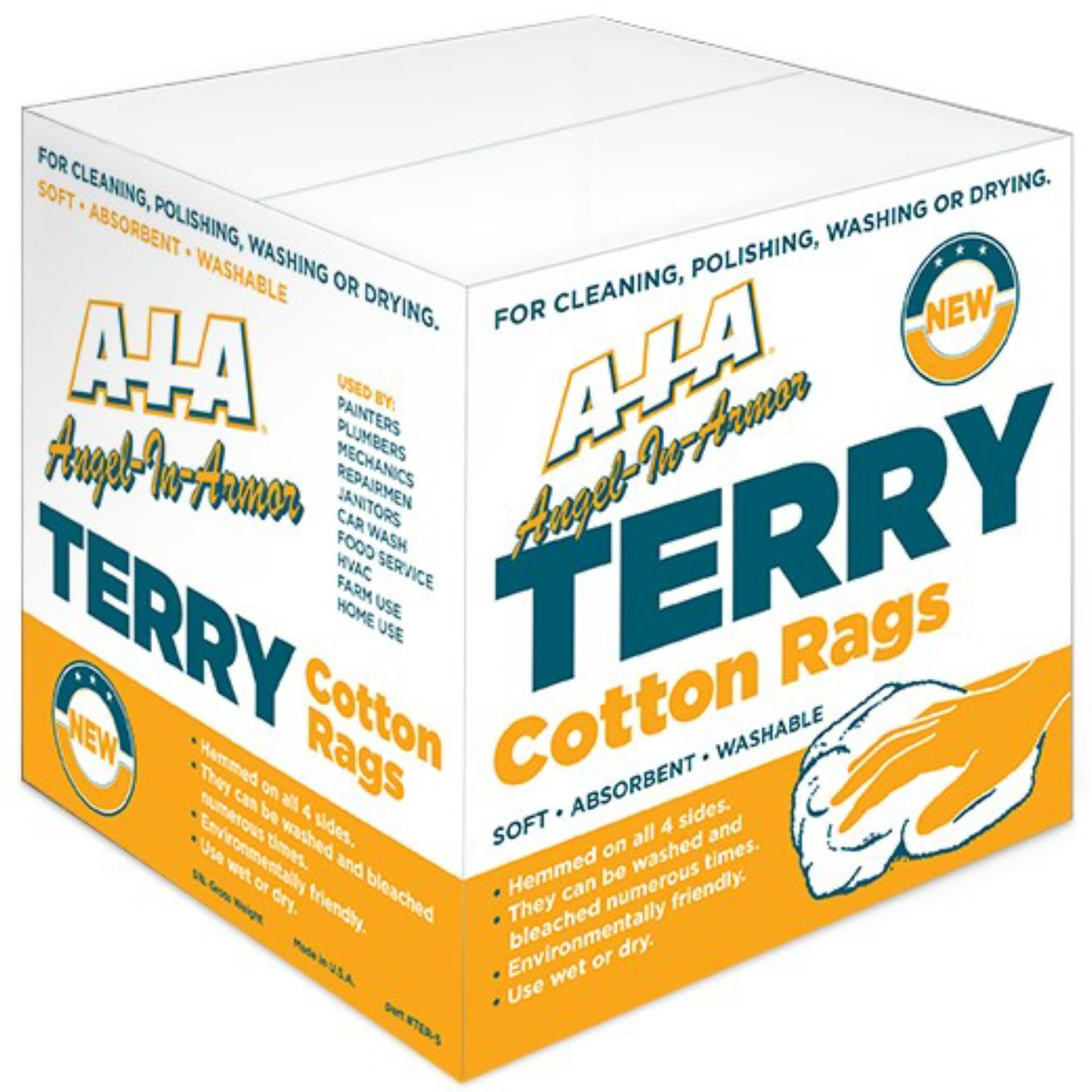 5 Lb. Box of New White Cotton Terry Wiping Cloths Bar Towels