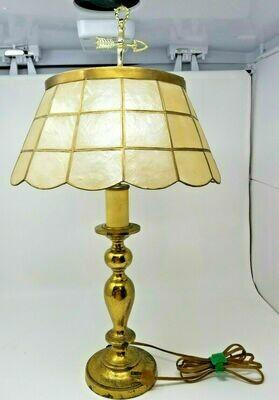 Vintage Capiz Shell Table Lamp Brass Vane Topper 24