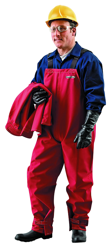 Chemical Resistant Bib Overalls Red Large ANSELL 66-662 Sawyer Tower Gore Fabric