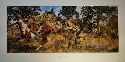 Manifest Destiny Craig Tennant Native American Pinto Art Story Painting 39x20.5