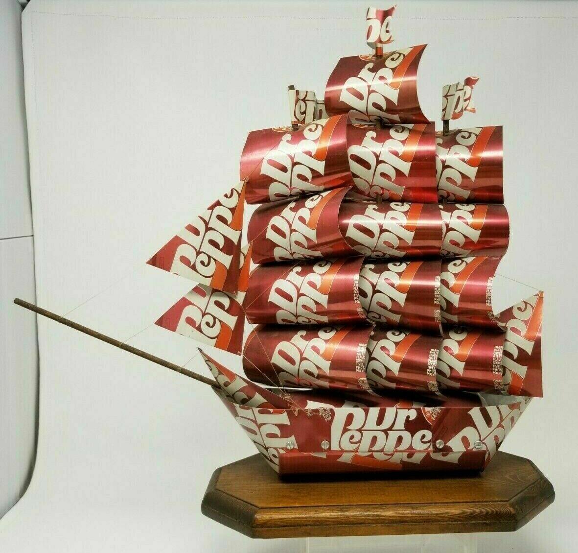 Vintage SS Dr. Pepper Can Ship Model Boat Art