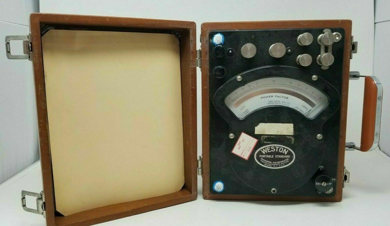 Vintage Weston Portable Single Phase Factor Power Meter Ammeter Model 338 #1009