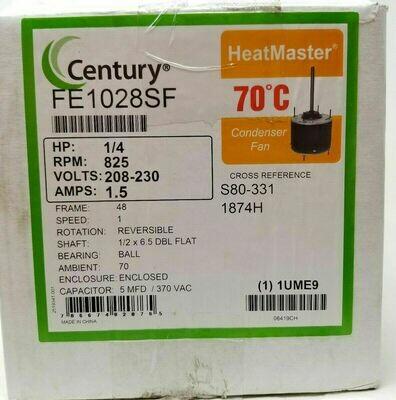 CENTURY FE1028SF Condenser Fan Motor 1/4 HP 825 rpm 60 Hz Frame 48Y 208-230v
