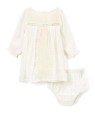 Lace Detail Infant dress (Off white, Light Blue and Pink)