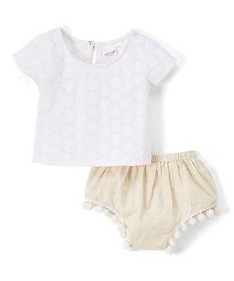 White floral embossed top and bloomer sets