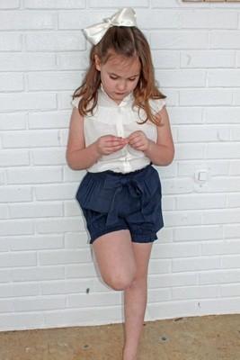 Navy Blue High Waist Tie shorts and Frill Blouse (2 piece set)