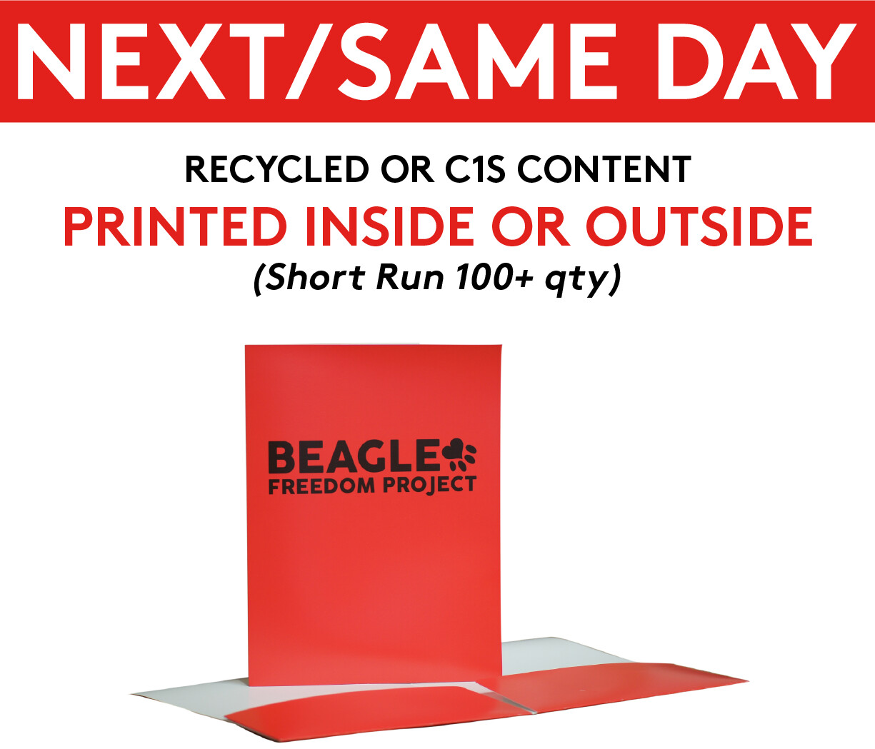 Same / Next Day Presentation Folders - 4/0 (Outside Print Only) (Short Run 100+ Qty)