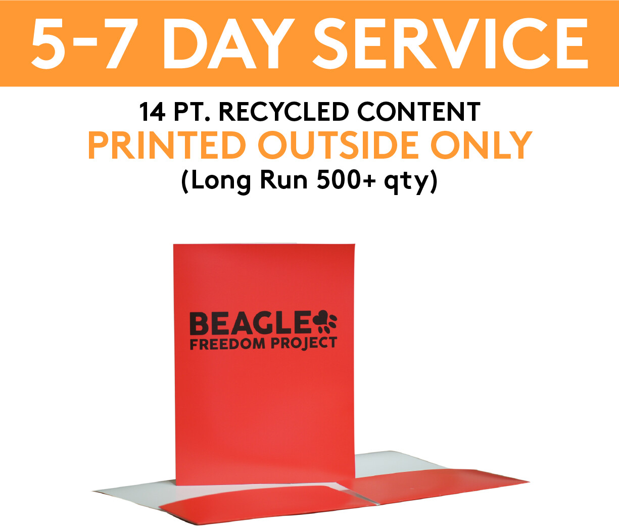 14 pt. Recycled Content Presentation Folders Printed 4/0 (Outside Only) | 5-7 Day Service |  (Long Run 500+ qty )
