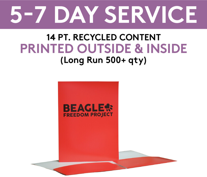 14 pt. Recycled Content Presentation Folders Printed 4/4 (Outside & Inside) | 5-7 Day Service |  (Long Run 500+ qty )
