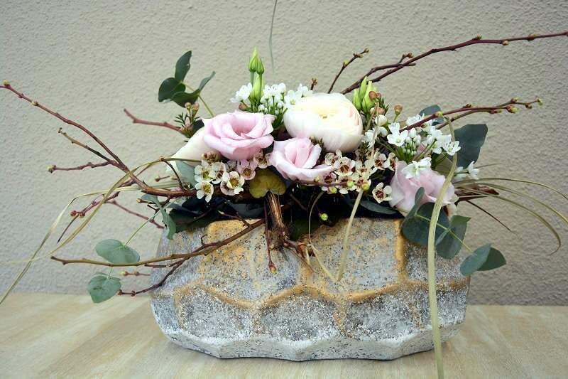 Blumengesteck länglich rosa & weiss
