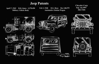 Jeep Patent Framed Poster 11x17