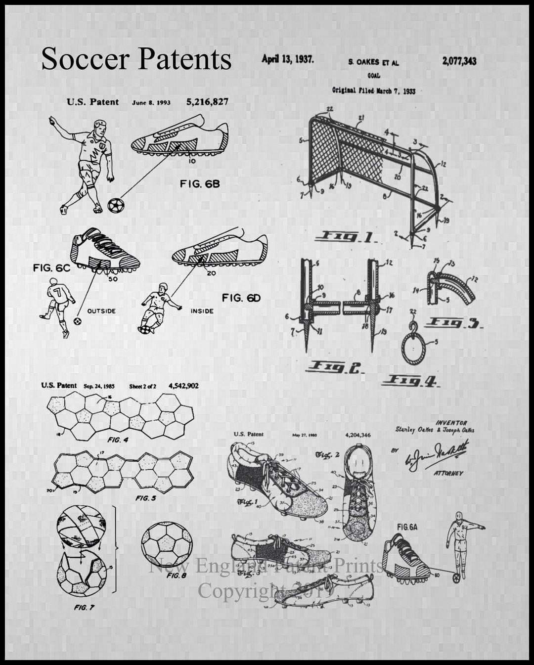 Soccer Patent, Framed (gray)