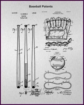Baseball Patent Art Prints - Gray Framed