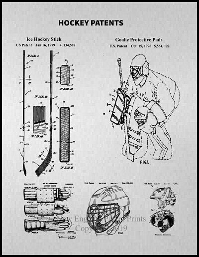 Ice Hockey Equipment & Uniform Gray Patent Print - Framed