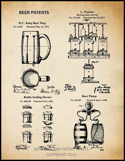 Beer Patent Print Framed
