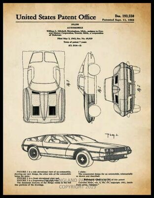 Delorean Collage Patent Print - Sepia Framed