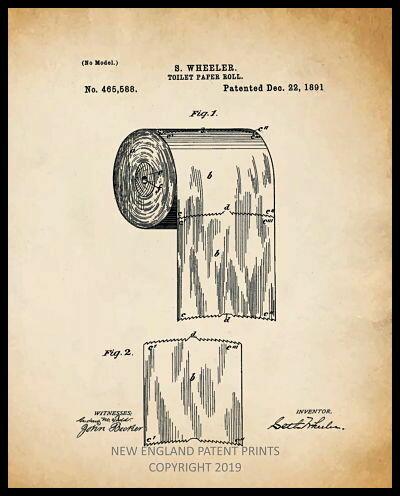 Toilet Paper Patent Print - Sepia Framed