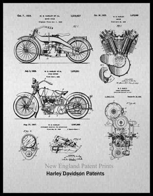 Harley Davidson Collage Patent Print - Gray Framed