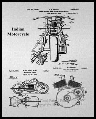 Indian Motorcycle Collage Patent Print - Gray Framed