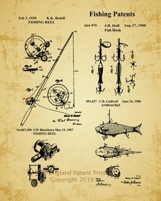 Fishing Collage Patent Print - Oldpaper Framed