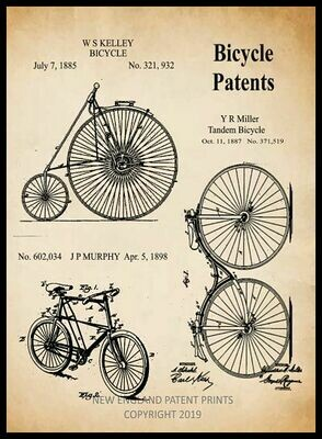 Bicycle Collage Patent Print