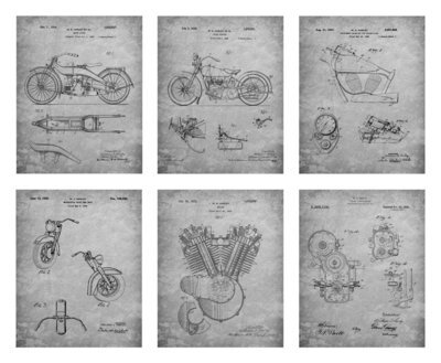 Harley Davidson Patents Unframed Gray - Six