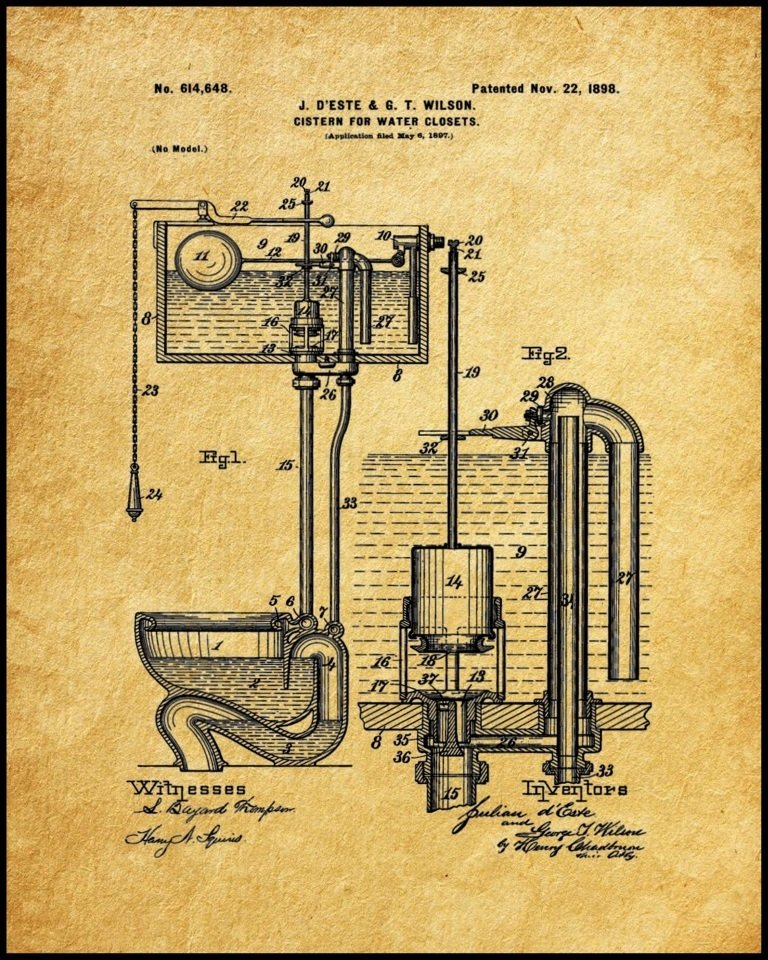Framed Water Closet Patent Print
