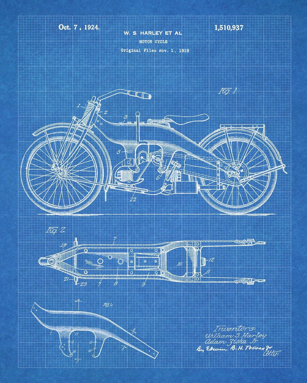 Harley Davidson Patent Prints - Six Prints with Blueprint Background