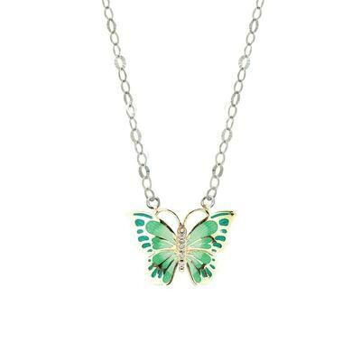 collana farfalla verde