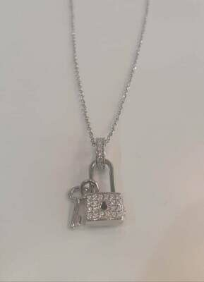 collana lucchetto argento rodiato