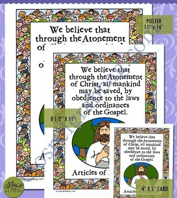obedience atonement scripture poster articles of faith 1 3 lds