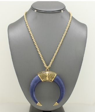 Long Folk Horn Necklace - Blue JW-L5S1794BLUGD