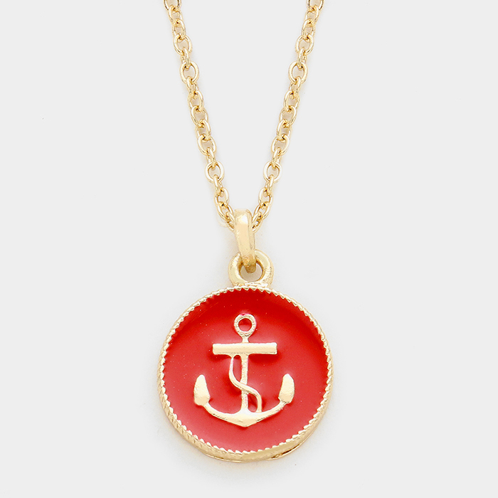 Anchors Away Red Necklace WT-319137