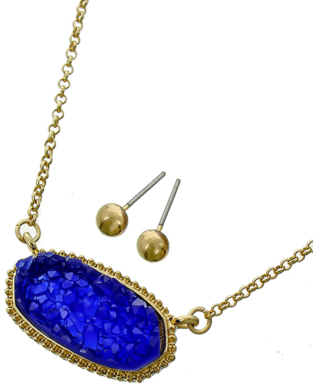 Royal Blue Druzy Oval Pendant Choker BB-536272