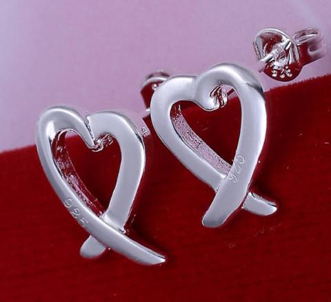 Silver Open Heart Earrings KL-E055