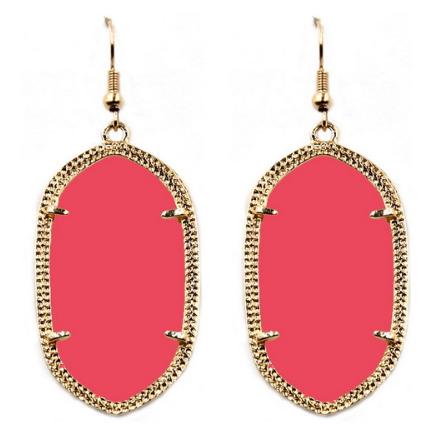 Catherine Oval Earrings - Flamingo HWG-KOE-111