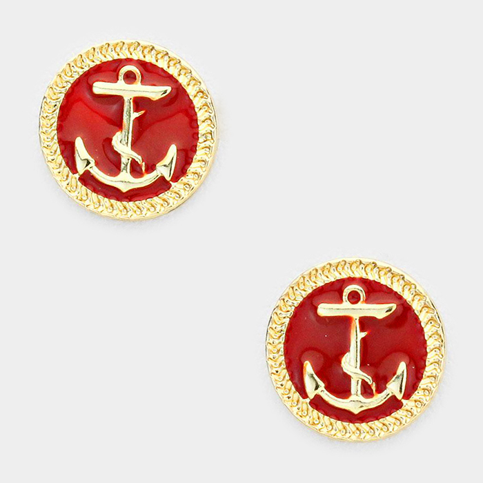 Red Anchor Earrings WT-SE2770-G-RED-05W-229902