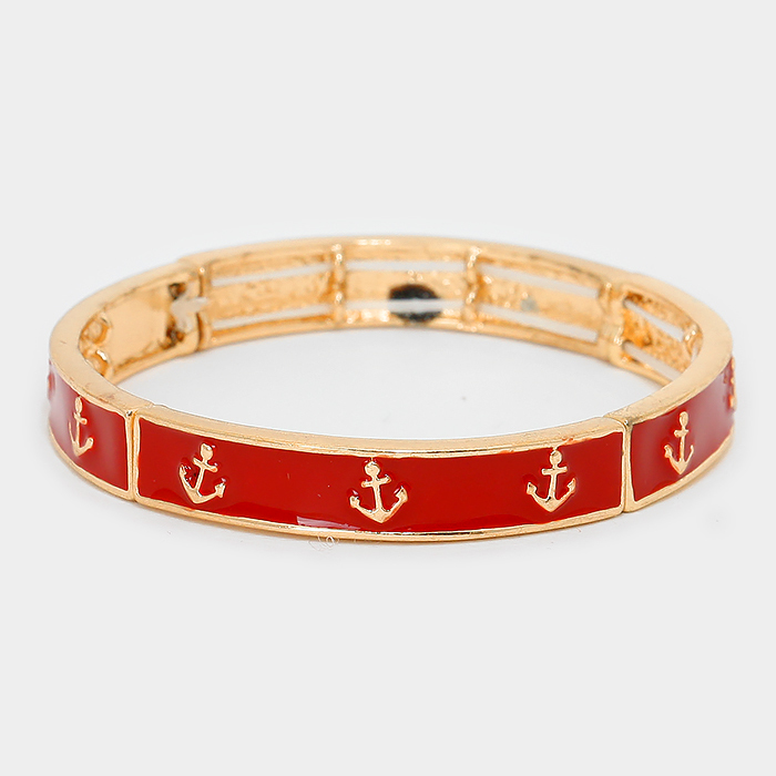 Red Anchor Stretch Bangle Bracelet WT-306268