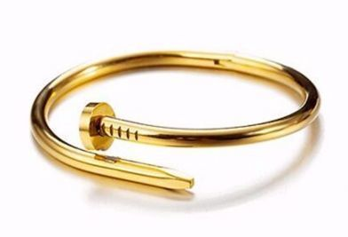 Cartier Inspired Twisted Nail Bangle - Gold FS-20003