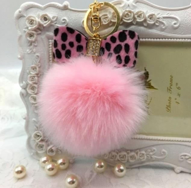 Harper Leopard Bow Keychain - Pink on Pink AI-W228406