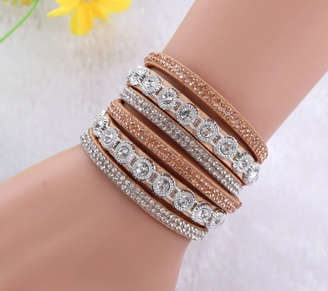 Chelsea Crystal Wrap Bracelet - Beige N1-99307