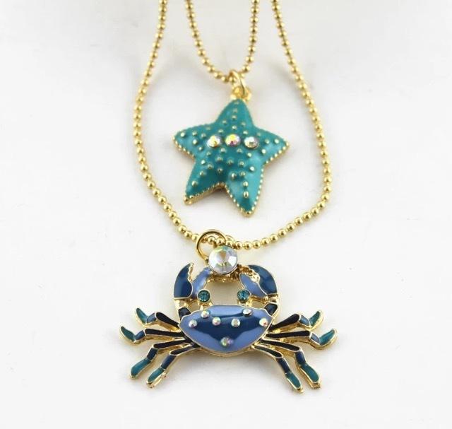 Acton Blue Stone Crab & Startfish Necklace EZ-3000